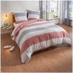 TRAUMSCHLAF Bettwäsche Melange Streifen rot, Biberbettwäsche weich und kuschelig rot Bettwäsche-Sets Bettwäsche, Bettlaken Betttücher