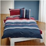 TRAUMSCHLAF Bettwäsche Mick, ideale Sommerbettwäsche in herrlicher Seersucker Qualität blau nach Größe Bettwäsche, Bettlaken und Betttücher