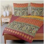 TRAUMSCHLAF Bettwäsche Murillo terra, warme Biber Qualität orange nach Größe Bettwäsche, Bettlaken und Betttücher