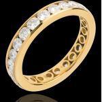 Trauring mit Diamanten besetzt in Gelbgold - Kanalfassung - 2 Karat - 23