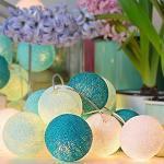 Treer LED Lampion Lichterkette Kugeln aus Baumwolle, 6CM Wattebausch Batteriebetrieben für Festlich Hochzeiten Feier Geburtstag Weihnachten Garten Dekorative (5M 50 Lichter,Blau)
