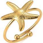 Tribal Spirit Steel Fingerring »Ring Seestern«, Gelbgold
