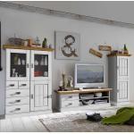 TV Anbauwand in Weiß Kieferfarben (3-teilig)