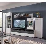 TV Anbauwand in Weiß und Dunkelgrau LED Beleuchtung (4-teilig)