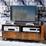 TV Board mit Verzierungen im Barock Design Nussbaum furniert