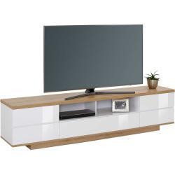 TV Lowboard in Weiß Hochglanz und Eiche Optik 200 cm breit