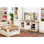 TV-Tisch Lowboard MEXICO, Pinie weiß / honig, Landhausstil Möbel, shabby