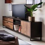 TV Unterschrank in Eiche dunkel und Dunkelgrau 220 cm breit