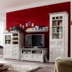 TV Wand aus weißem Kieferholz Shabby Chic (4-teilig)