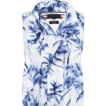 Übergröße : Tommy Hilfiger, Kurzarmhemd mit Palmenprint, Regular Fit in Blau für Herren