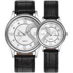 Uhr Damen Herren Kolylong® 1 Paar / 2pc Tiannbu Leder-Band Paar Armbanduhren (Weiß) EIN passendes Geschenk für Ihren Traumpartner Viel Glück