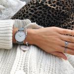 Uhr Miss Ocean White Sand Silber Leder Graphite