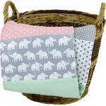 ULLENBOOM ® Babydecke »Babydecke Elefant Mint Rosa 70x100 cm als Kinderwagendecke & Spieldecke (Made in EU)«, Aus hochwertiger Baumwolle & Fleece, Design: Sterne