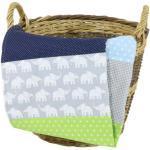 Ullenboom Babydecke & Kuscheldecke 100X140 cm Elefant Blau Grün
