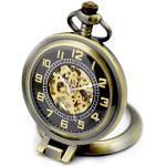 Unendlich U Charme Recht-Winkel Lupe Retro Handaufzug Mechanische Taschenuhr Schwarz/Weiß Zifferblatt Skelett Kettenuhr Halskette, Bronze-Schwarz