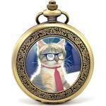 Unendlich U Süß Katze Kätzchen mit Brillen und Krawatte Retro Handaufzug Mechanische Taschenuhr Hohle Skelett Kettenuhr Pullover Halskette Bronze