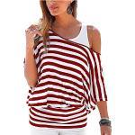 Uniquestyle Damen Gestreiftes T-Shirt Sommer Kurzarm Oberteile 2 in 1 Strandshirt (Wein Rot, S)