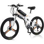 UNOIF Elektrofahrrad Ebike Mountainbike, 26'' Elektrisches Klapprad 350W Elektrisches Fahrrad Mit Herausnehmbarer 10Ah Batterie, Professionelle Shimano 21-Gang, doppelte Stoßdämpfung (Weiß)