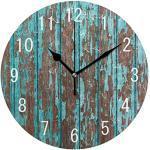 Use7 Home Decor Vintage Türkis Holz Runde Acryl Wanduhr nicht tickend leise Uhr Kunst für Wohnzimmer Küche Schlafzimmer