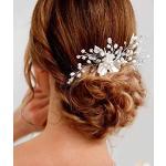 Ushiny Haarkamm mit Blume, Kristall, Brautschmuck, Haarschmuck für Frauen und Mädchen (Gold)