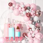VAINECHAY Ballon Girlande Ballonbogen Kit Luftballons Rosa Weiß und Silber Set Konfetti Ballonsfür Junge Baby Geburtstag Party Hintergr Deko Hochzeit Birthday