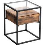 Vasagle Beistelltisch LET04bx, transparent / braun, aus Glas / Metall, 43 x 54 x 43 cm, Schublade, quadratisch