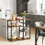 VASAGLE Standregal »KKS90X«, Regal, für Küche, mit Metallgestell, praktische Haken, ausziehbares Gitterfach, im Vintage-Look