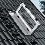 Graue VELUX Fenster B 43 cm, H 110 cm, L 43 cm