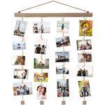 Vencipo Holz Bilderrahmen Collagen für Wand Deko Wohnzimmer, Hänge Fotorahmen Organizer mit 24 Mini Wäscheklammern, Natur, Dekoration für Kinderzimmer, Babyzimmer, Party.(40 60cm)