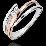 Verlobungsring Kostbarer Kokon - Diamanttrio - Roségold und Weißgold -