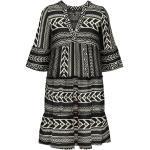 Schwarze 3/4-ärmelige Bohemian Vero Moda V-Ausschnitt Tunika-Kleider für Damen