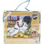 Vervaco Knüpfkissen Hühnerfamilie auf dem Bauernhorf Knüpfpackung, Baumwolle, Mehrfarbig, 40 x 40 x 1 cm