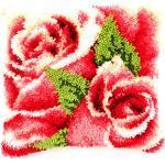 Vervaco Knüpfkissen Rosenblüte Knüpfpackung, Baumwolle, Mehrfarbig, 40.0 x 40.0 x 1.0 cm, 1 Einheiten