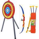 VGEBY Kinder Bogenschießen Spielzeug Set, Kinder Bogen Spielzeug Kit mit Ziel, 3 Pfeile, Köcher Indoor Outdoor Spiel
