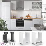 VICCO Herdumbauschrank 60 cm Weiß Küchenzeile Unterschrank Fame