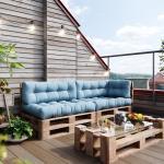 Vicco Palettenkissen »Palettenkissen-Set 2x Sitzkissen + 2x Rückenkissen + Seitenkissen Flocke, verschiedene Farben«, blau, Eisblau