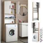 VICCO Waschmaschinenschrank 190 x 64 cm in Weiß Sonoma Badschrank Hochschrank
