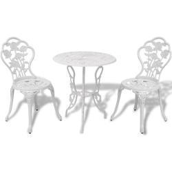 vidaXL 3-tlg. Bistro-Set Aluminiumguss Weiß