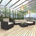 vidaXL 8-tlg. Garten-Lounge-Set mit Auflagen Poly Rattan Schwarz