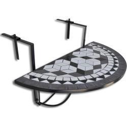 vidaXL Balkonhängetisch Schwarz und Weiß Mosaik