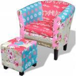 vidaXL Französischer Sessel mit Fußhocker Patchwork-Design