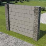 vidaXL Gabionenzaun mit 2 Pfosten Verzinkter Stahl und PVC 180×180 cm