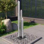 vidaXL Gartenbrunnen Silbern 48x34x153 cm Edelstahl