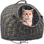 vidaXL Katzen-Transportkorb Grau 60×45×45 cm Natürliche Weide