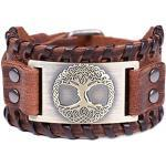 Vintage Amulett nordischen Viking Baum des Lebens Yggdrasil keltischen Knoten Metall braun Lederarmband für Männer (braunes Leder, antike Bronze)