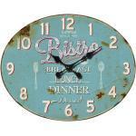 Vintage Design Wand Uhr BISTRO Ziffern weiß Küchen Esszimmer Quartz Zeit Anzeige hellblau BHP B991755