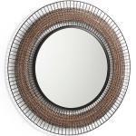 Vintage Spiegel in Kupferfarben und Schwarz rund