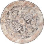 Vintage Teppich Talitha Ø 150 Shabby Chic/Overdyed Orientalischer Rund Hellgrau/Weiß/Creme