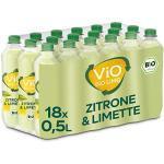ViO BiO Limo Zitrone-Limette, Erfrischend spritzige Limonade mit 10% Saftanteil, Veganes bio Mineralgetränk, EINWEG Plantbottle (18 x 500 ml)