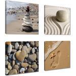 Visario Kunstdruck »4 er Bilder Set auf Leinwand fertig gerahmt + sofort aufhängbar 4 Stück à 20 x 20 cm«, 6902, Steine - 6902
